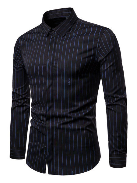 Milanoo Casual Shirt For Men Stripes Clothes Long Sleeves Turndown Collar Shirt For Work
