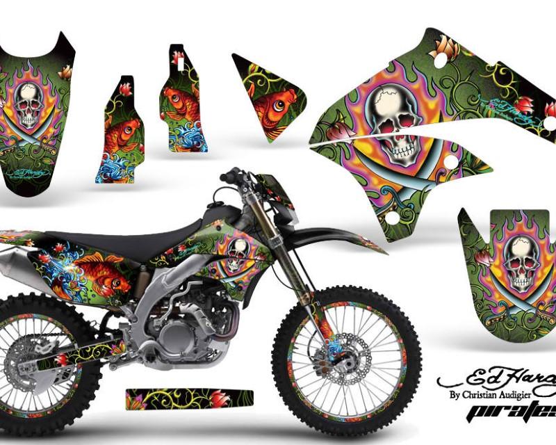 AMR Racing Graphics MX-NP-KLX450-08-12-EDHP G Kit Decal Sticker Wrap + # Plates For Kawasaki KLX450 2008-2012?EDHP GREEN