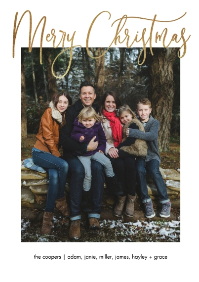 Christmas Photo Cards 5x7 Cards, Premium Cardstock 120lb with Scalloped Corners, Card & Stationery -Beautiful Script