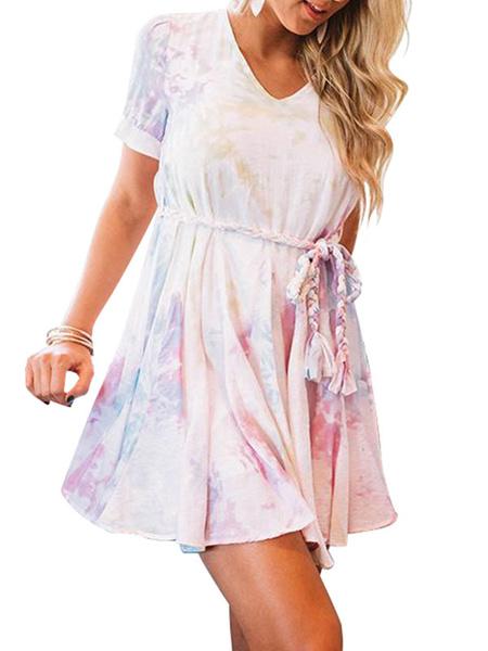 Milanoo Vestido de verano Azul cielo con cuello en V Manga corta Vestido de playa con volantes en capas Tie Dye