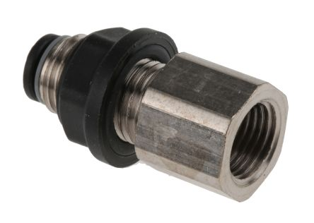 Legris Pneumatic Bulkhead Threaded-to-Tube Adapter, Push In 4 mm, G 1/8 Female BSPPx4mm (5)