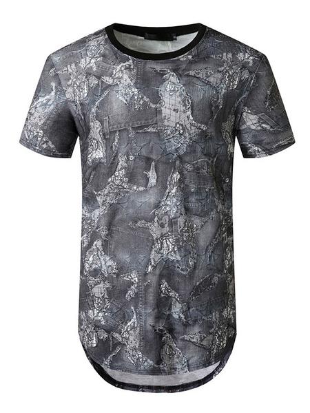 Milanoo T Shirts Jewel Neck Short Sleeves Print Summer Tees