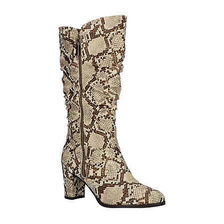 Easy Street Womens Mara Slouch Boots Block Heel, 10 Medium, Beige