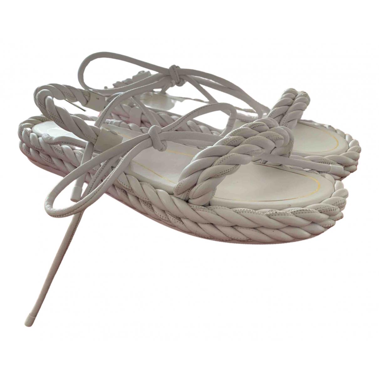 Valentino Garavani N White Leather Sandals for Women 39 EU