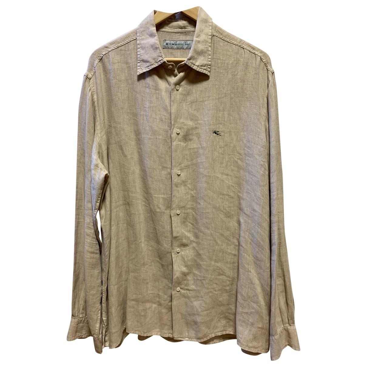 Etro \N Beige Linen Shirts for Men XXL International
