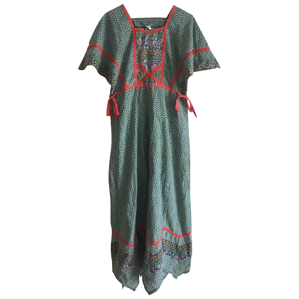 Non Signe / Unsigned Hippie Chic Kleid in  Gruen Polyester