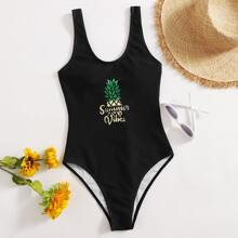 Pineapple & Letter Print Tank One Piece Swimsuit