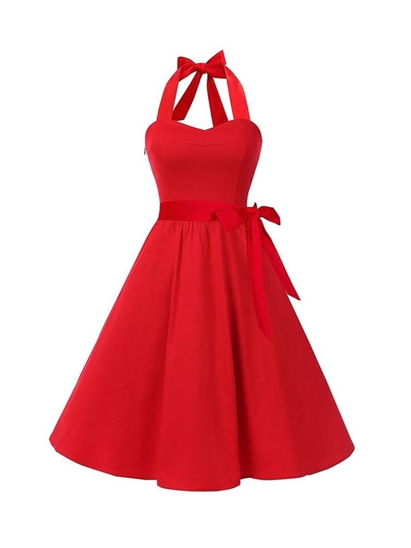 Ericdress Lace-Up Sleeveless Knee-Length A-Line Halter Dress