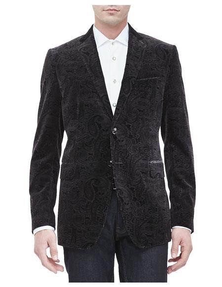 Mens Paisley Velvet ~ Velour Blazer Sport Coat Jacket