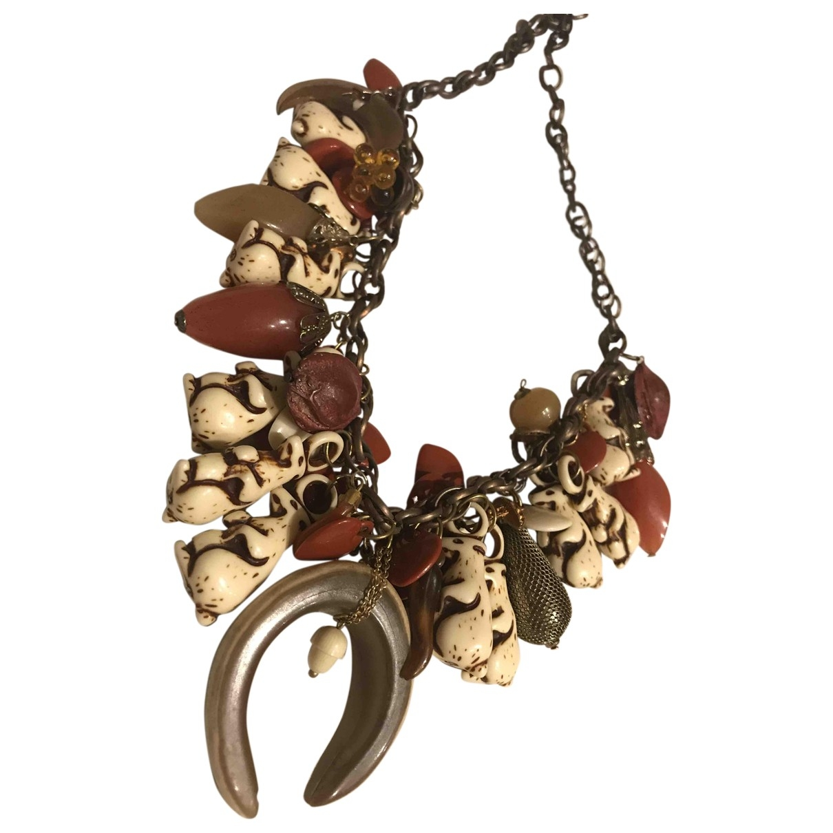 Non Signé / Unsigned Motifs Animaliers Brown necklace for Women \N