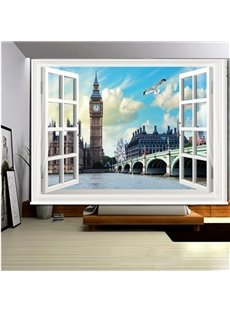 London Scenery outside the Window 3D Printed Roller Shades