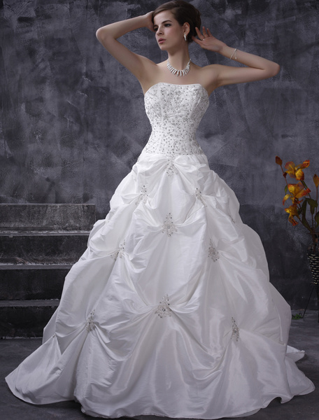 Milanoo White Wedding Dresses Ball Gown Strapless Taffeta Ruched Bridal Dress Beading Chapel Train Bridal Gown