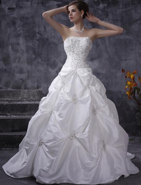 Milanoo Vestidos de novia blanco vestido de bola sin tirantes de tafetan fruncido vestido de novia rebordear vestido de novia del tren de la capilla