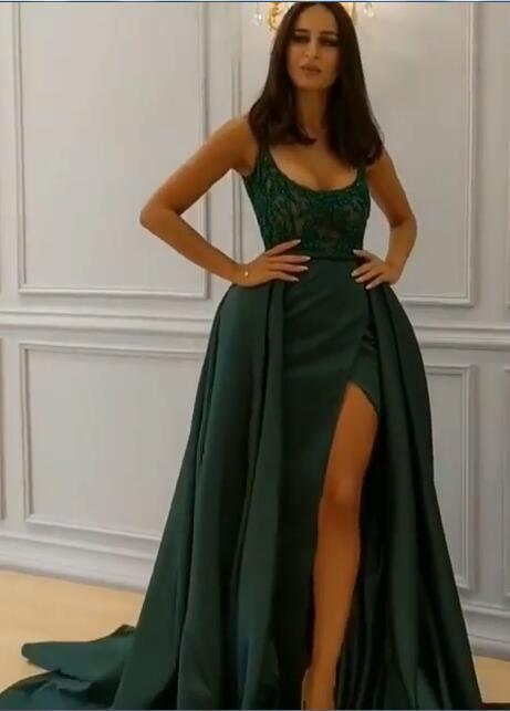 Elegantes correas verde oscuro vestidos de noche largos   Vestido de fiesta de cristal sin mangas con falda larga de 2021
