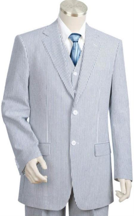 100% Cotton 2 Piece Lightweight Mens Suit in Blue / OffWhite