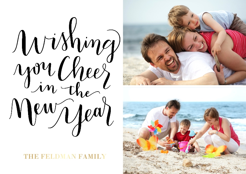 Christmas Photo Cards Set of 20, Premium 5x7 Foil Card, Card & Stationery -New Year Cheer Multi Photo