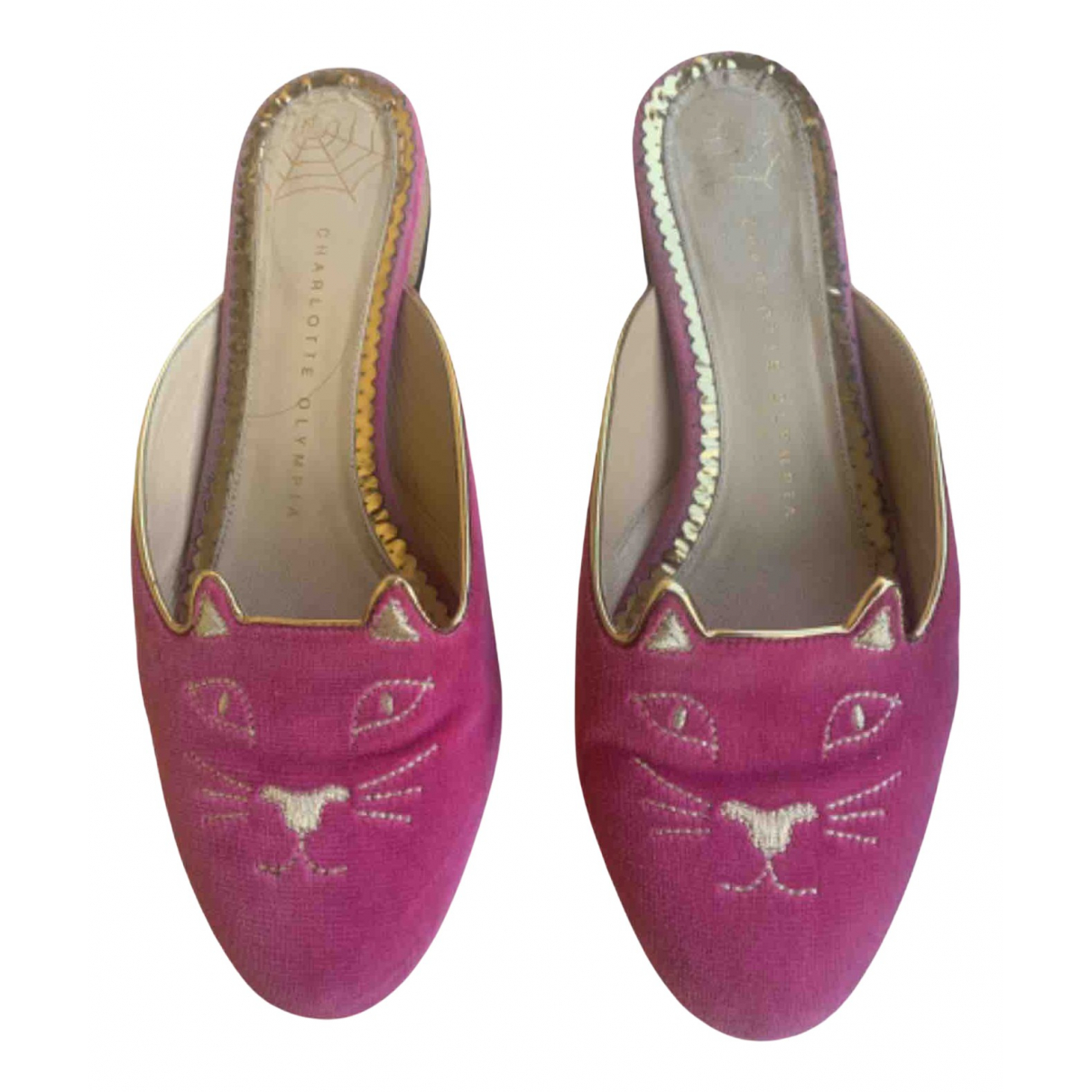 Charlotte Olympia \N Clogs in  Rosa Samt