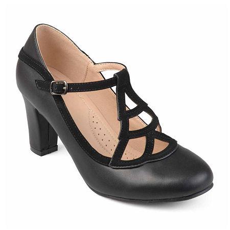 Journee Collection Womens Nile Pumps Block Heel, 8 Medium, Black