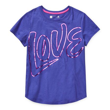 Xersion Little & Big Girls Round Neck Short Sleeve Graphic T-Shirt, Small (7-8) , Blue