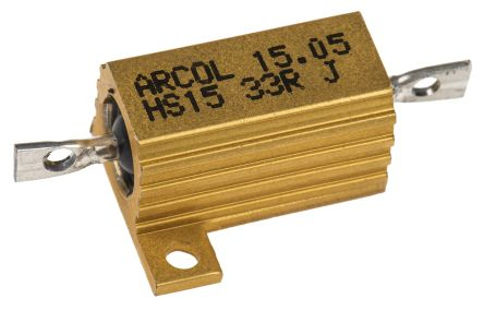 Arcol HS15 Series Aluminium Housed Axial Wire Wound Panel Mount Resistor, 33Ω ±5% 15W