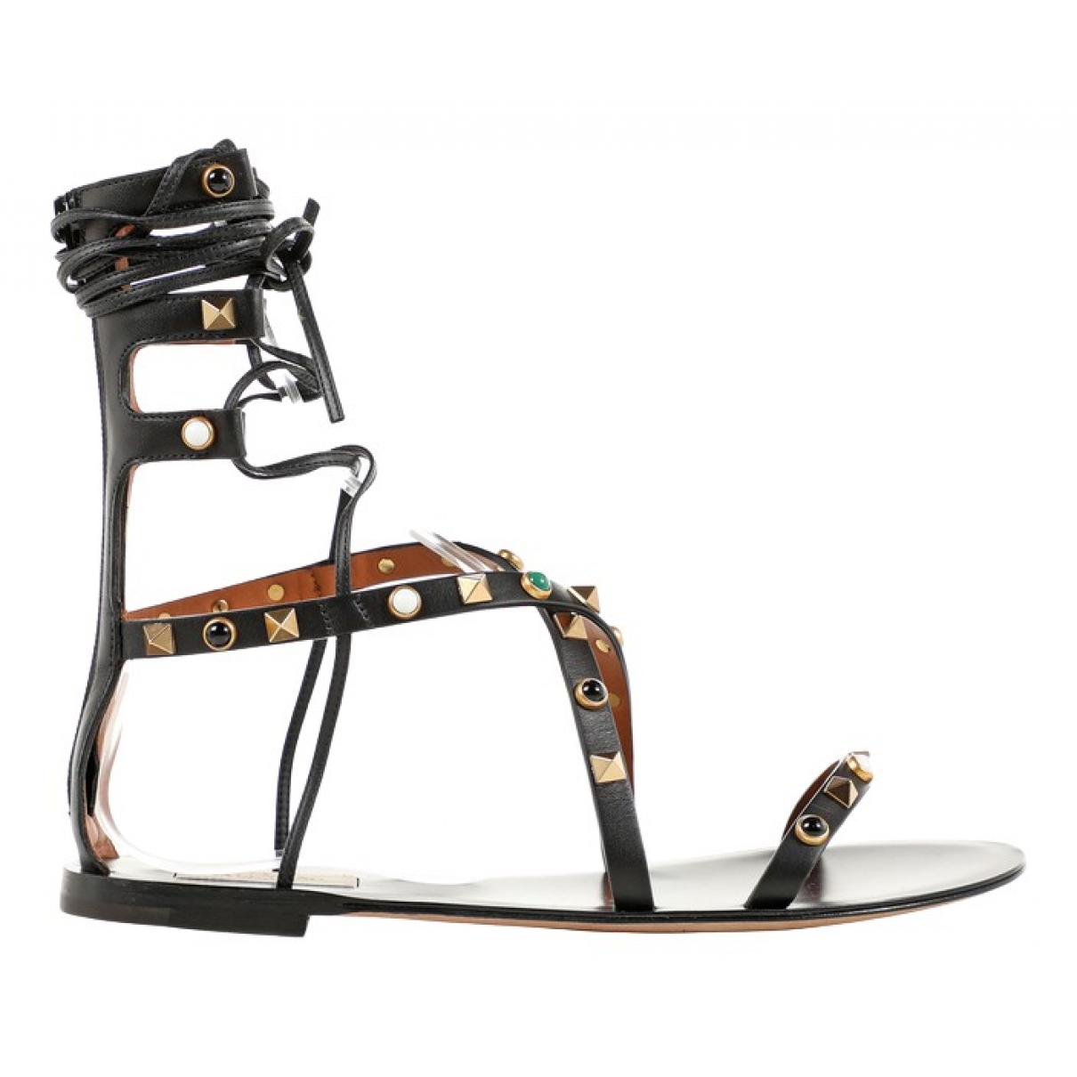Valentino Garavani Rockstud Black Leather Sandals for Women 37.5 EU