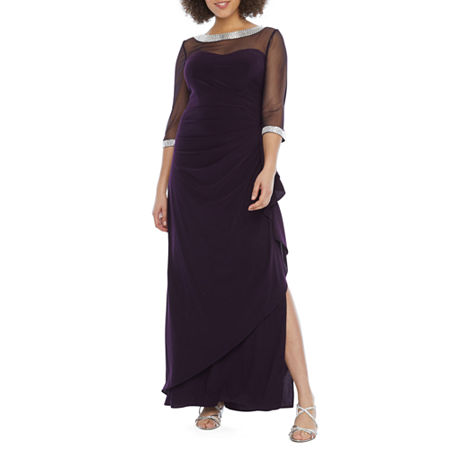 R & M Richards 3/4 Sleeve Embellished Evening Gown, 10 , Purple