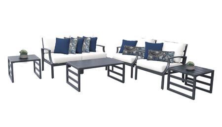 Lexington LEXINGTON-07d-WHITE 7-Piece Aluminum Patio Set 07d with 1 Left Arm Chair  1 Right Arm Chair  2 Club Chairs  1 Coffee Table and 2 End Tables