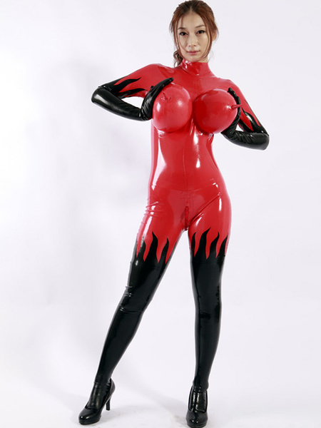 Milanoo Disfraz Halloween Halloween Latex Catsuit Sexy Rojo Unisex Bodysuit para Mujeres (inflable mama) Halloween Carnaval Halloween
