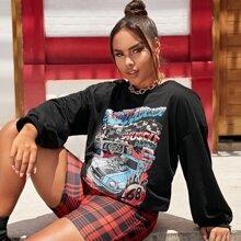 Plus Letter & Car Print Sweatshirt