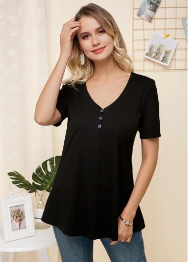 Black Button Detail Short Sleeve Soft T Shirt - 12