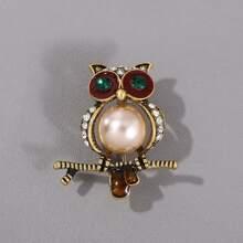 Broche de hombres con diseño de buho con perla artificial
