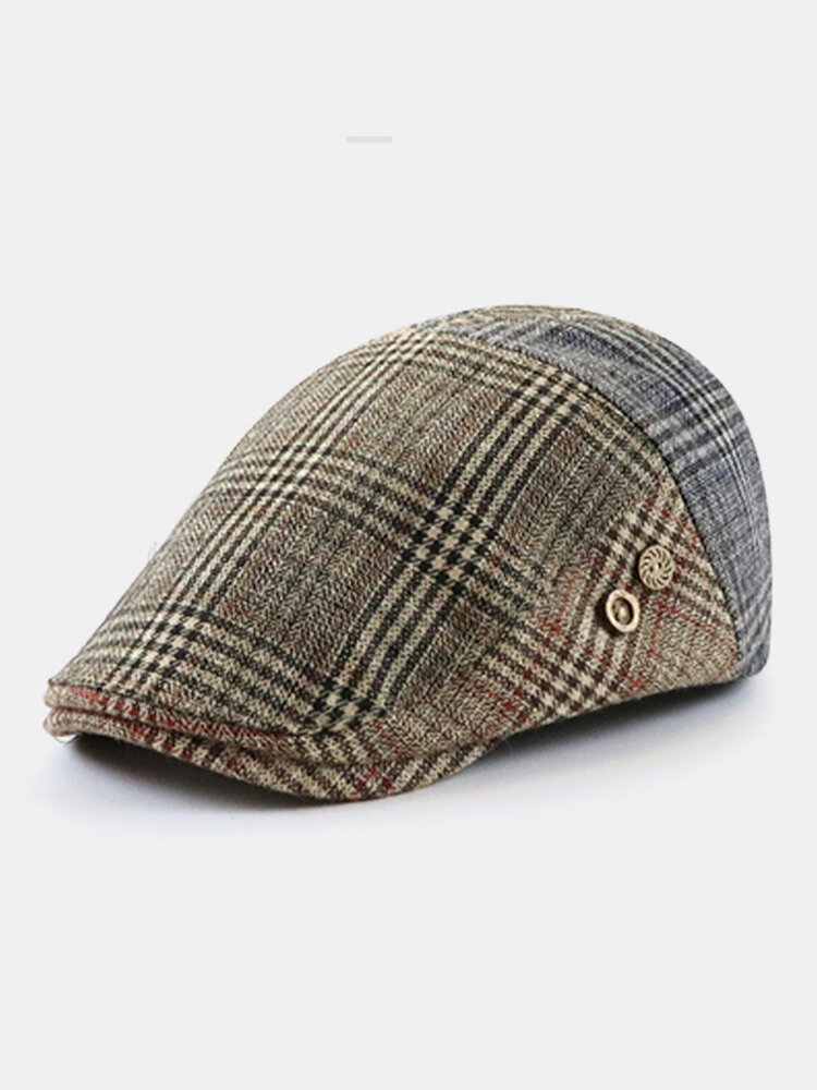 Men British Style Retro Lattice Stripe Pattern Casual Keep Warm Forward Hat Beret Hat