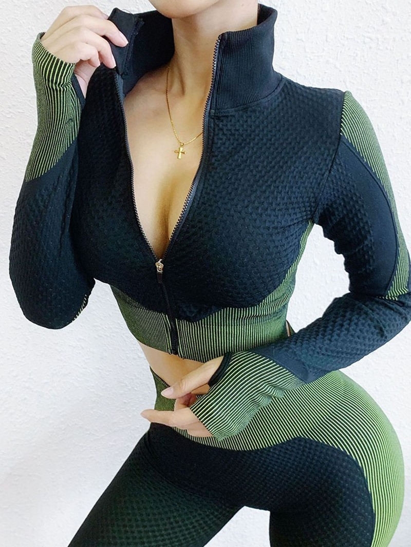 Ericdress Patchwork Color Block Thermal Zipper Long Sleeve Tops