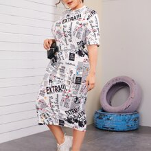 Plus Mock-neck Letter Graphic Dress Without Bag