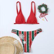 Christmas Striped Triangle Bikini Swimsuit