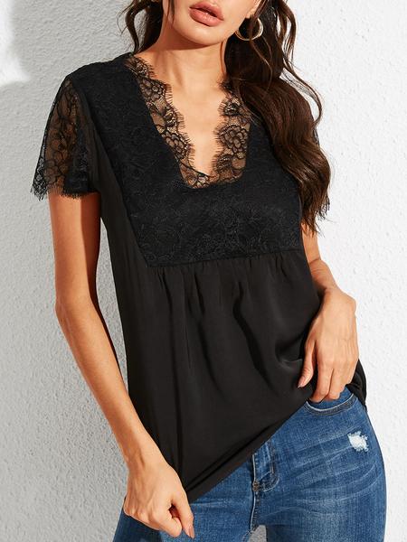 YOINS Black Lace Details Patchwork V-neck Short Sleeves Blouse