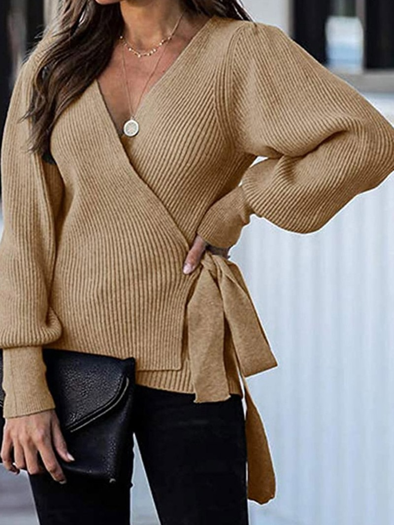 Ericdress Lantern Sleeve Lace-Up Thin V-Neck Mid-Length Sweater