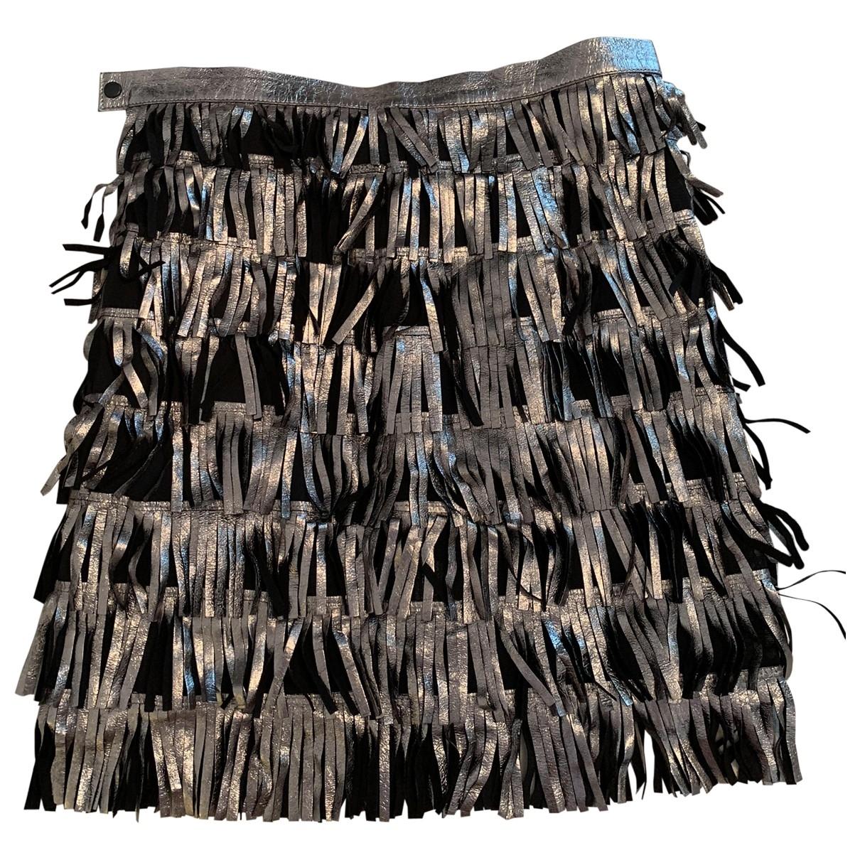 Caban Romantic - Jupe   pour femme en cuir - argente