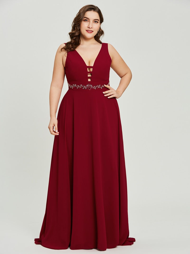 Ericdress V Neck A Line Long Evening Dress With Beadings