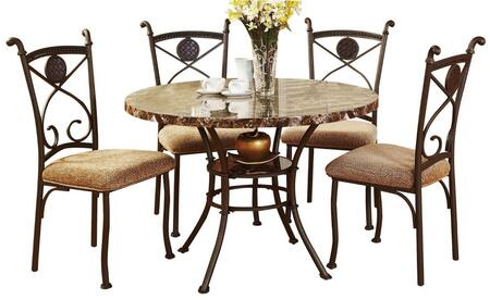 Kleef Collection 70555 5 PC Dining Room Set with Brown Faux Marble Top  Fabric Seat Cushions  Bottom Shelf and Metal Construction in Brown
