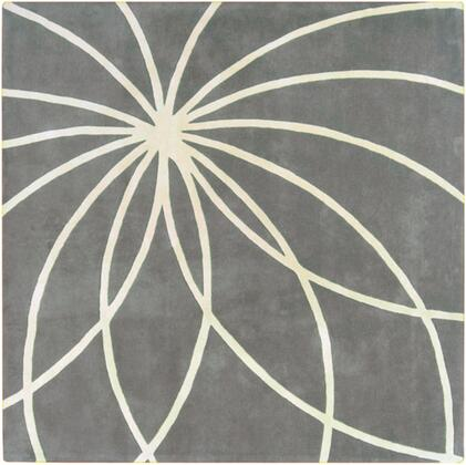 Forum FM-7173 4' Square Modern Rug in Charcoal