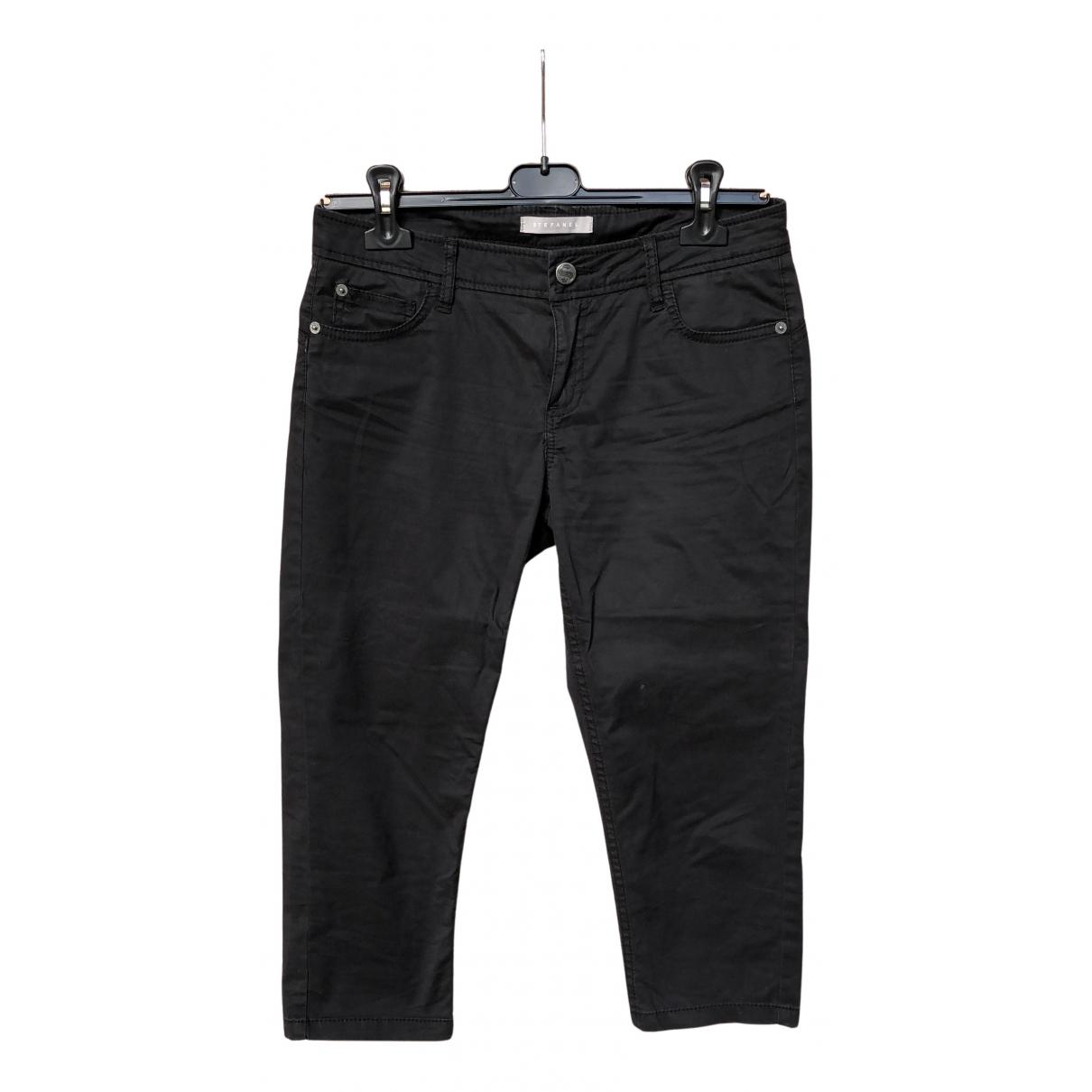 Stefanel N Black Cotton Trousers for Women 38 IT