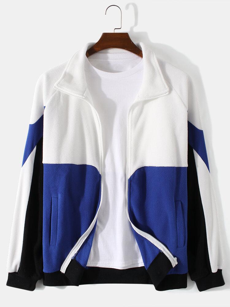 Mens Colorblock Patchwork Zip Front Lapel Casual Raglan Sleeve Cardigans