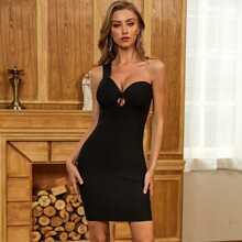 Sesidy Bandage Kleid mit einer Schulter frei und Twist vorn