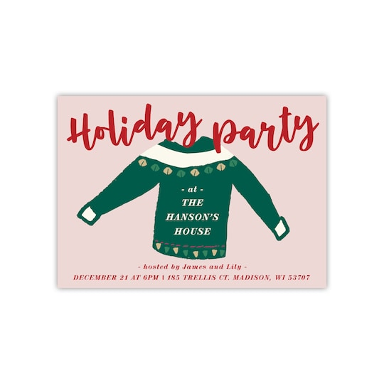 Gartner Studios® Personalized Ugly Sweater Flat Holiday Invitation | Michaels®