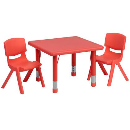 YUYCX Collection YU-YCX-0023-2-SQR-TBL-RED-R-GG Kids Activity Table Set with 2 Stackable Chairs  Adjustable Height Steel Legs  Safety Rounded Corners