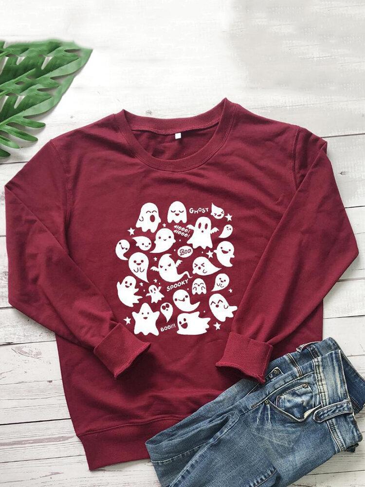 Halloween Printed Long Sleeve O-neck Sweatshirt For Women