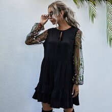 Plants Embroidered Mesh Sleeve Tie Neck Babydoll Dress