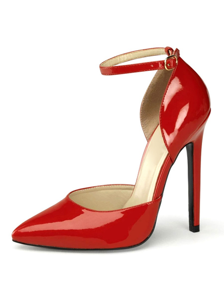 Milanoo Sexy Sandals For Woman Red PU Leather Pointed Toe Sequins Ankle Strap Sexy Shoes