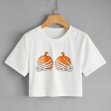 Crop T-Shirt mit Halloween Schaedel Muster